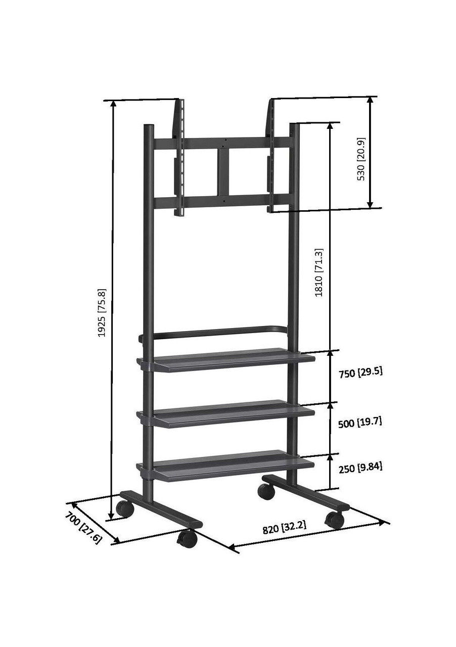 "Vogels PB175 36-55"" Display Trolley with 3 Shelves (up to 50kg)"