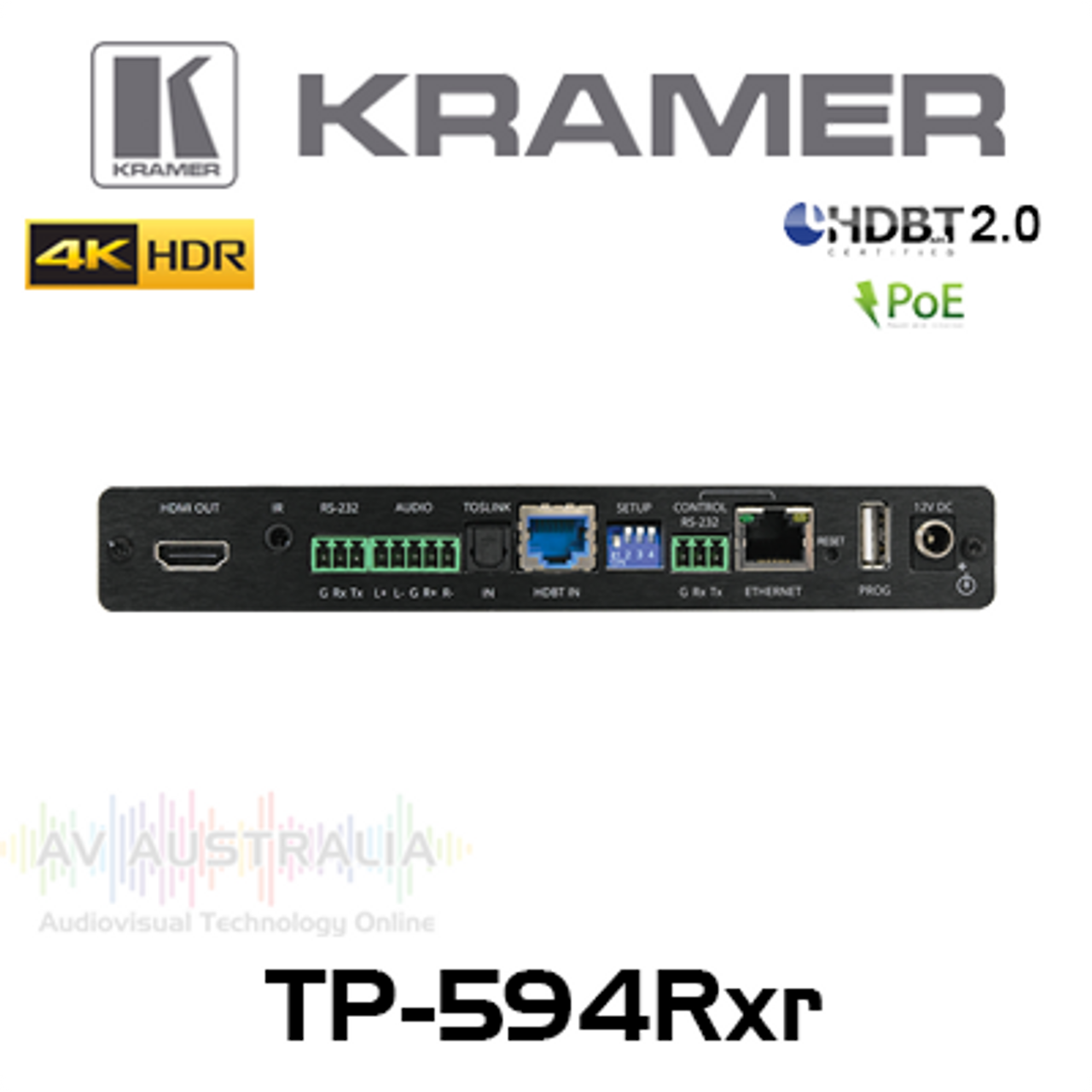 Kramer TP-594RXR 4K HDR HDMI Over HDBaseT 2.0 PoE Receiver w/ Ethernet, ARC, Audio, RS-232 & IR (100m)