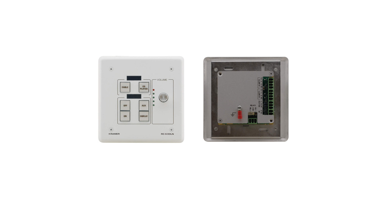 Kramer RC-63DLN 6-Button KNET Control Keypad with Vol Knob & LCD Display (IR, RS-232 & Relay)