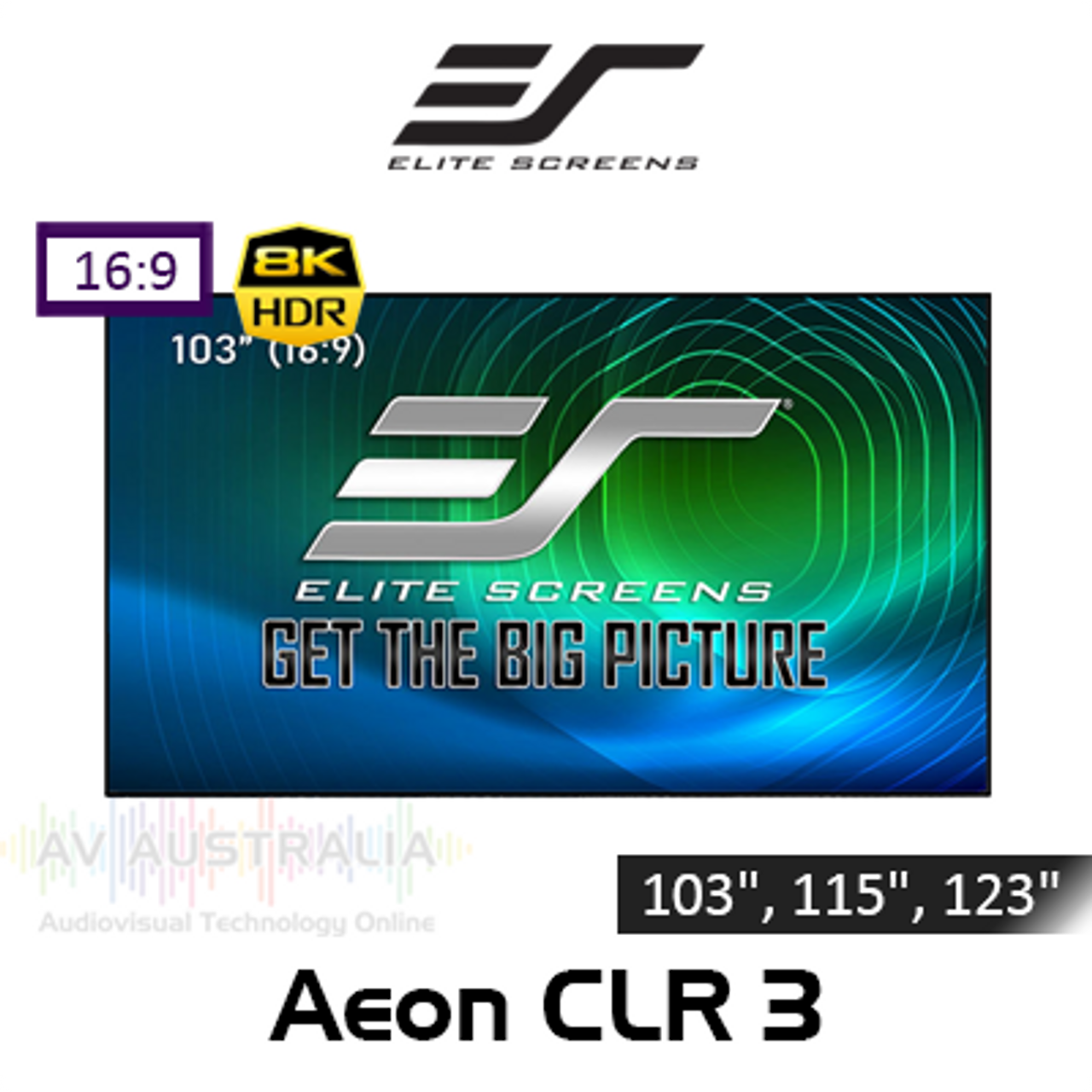 "Elite Screens Aeon CLR 3 Edge Free 8K/4K 16:9 Fixed Frame Projection Screens (103"", 115"", 123"")"