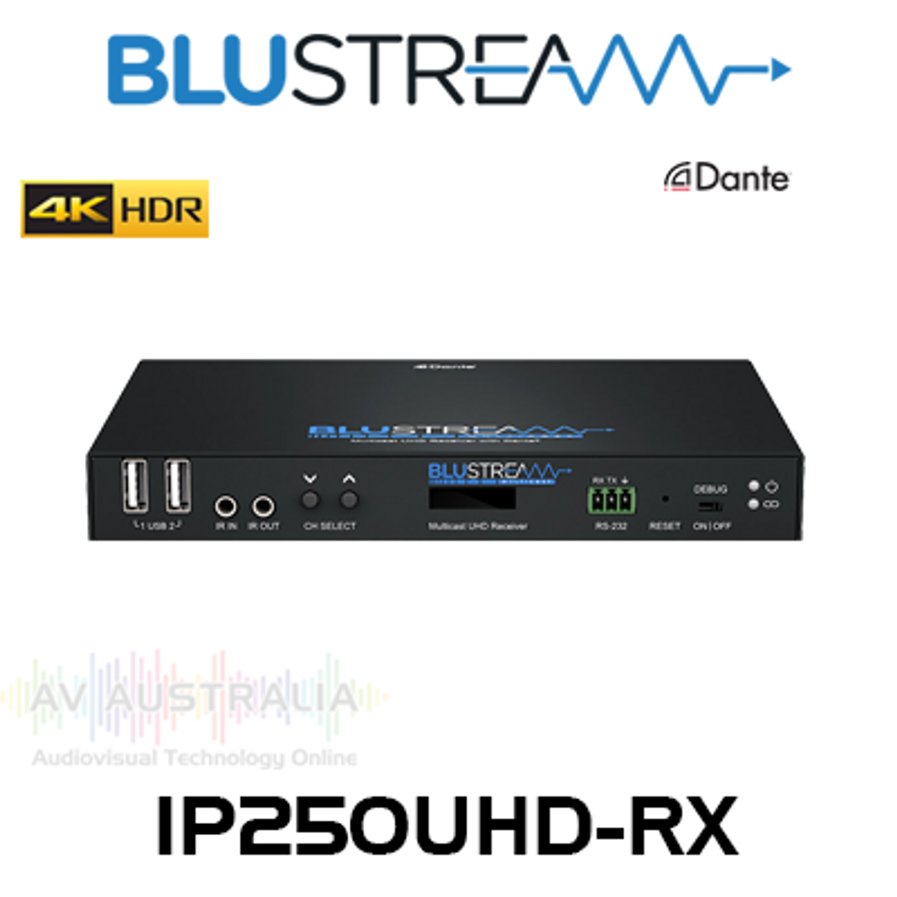BluStream IP250UHD-RX Multicast UHD Video Receiver Over IP With Dante