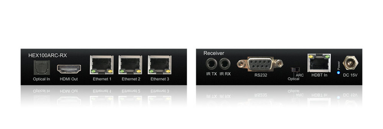 BluStream HEX100ARC-RX 4K HDBaseT Receiver With Bi-Directional IR, RS-232, PoH, ARC, LAN Switch (up to 70m)