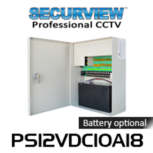 SecurView 12VDC 10A 18-Ch CCTV Surveillance Power Supply