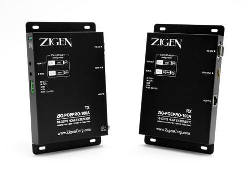 Zigen POEPRO-100A PoE HDBaseT 18Gbps HDMI 2.0 Extender Set (100 Meters)