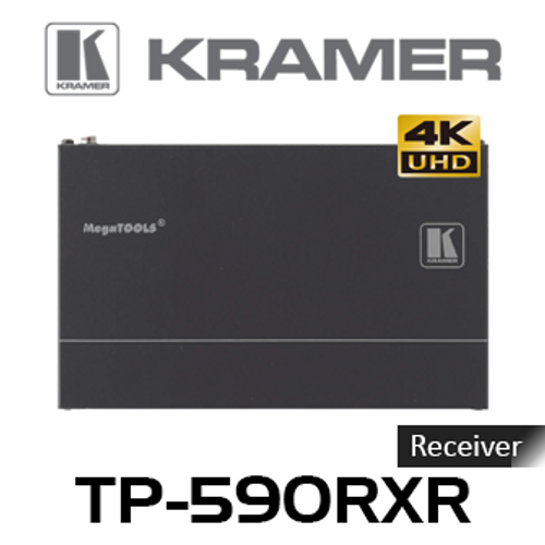 Kramer TP-590RXR 4K60Hz HDMI to HDBaseT 2.0 PoE Receiver w/ Ethernet, USB, Audio, RS-232 & IR (up to 100m)