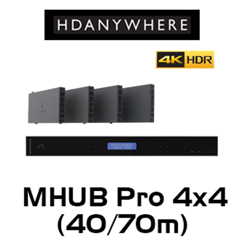 HDAnywhere MHUB Pro 4x4 4K HDR HDMI/HDBaseT Matrix Switcher (40m / 70m)