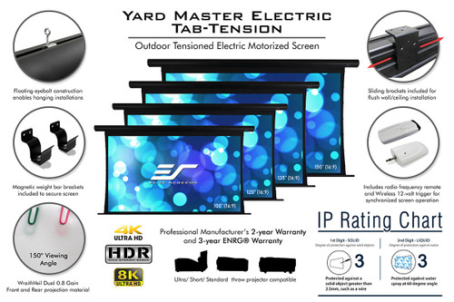 "Elite Screens Yard Master WraithVeil Dual IP33 16:9 Outdoor Tensioned Motorised Projection Screens (135"", 150"")"