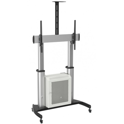 Quantum Sphere Single or Dual Screen Height Adjustable Video Conferencing Cart / Trolley with Lockable Cabinet