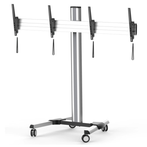 """Quantum Sphere TTD0246TW 40""""-55"""" Dual Screen Height Adjustable Video Confencing Cart / Trolley"""