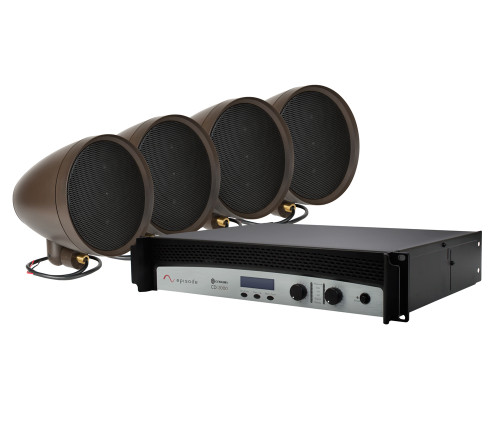 "Episode Landscape Speaker Kit with Four 8"" Satellite Speakers and 2kW Crown Amplifier"
