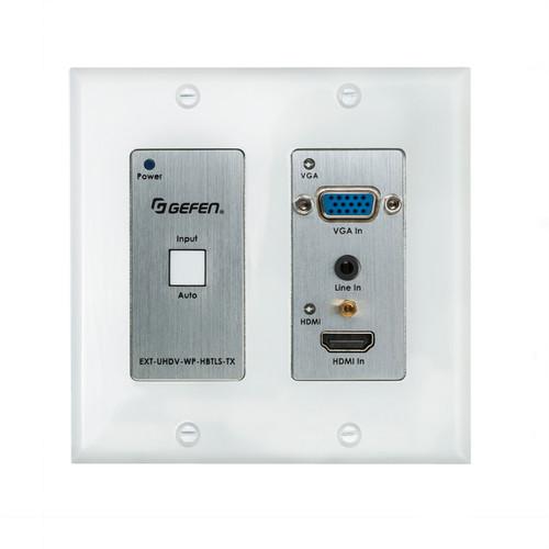 Gefen 2x1 4K UHD HDMI & VGA Over HDBaseT Wallplate Transmitter w/ Scaler & PoH (40m)