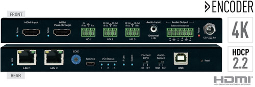 Key Digital KD-IP922 4K AV Over IP with 2 PoE LAN Switch, Audio De-Embedding & DSP, KVM (100m)