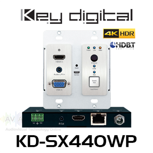 Key Digital KD-SX440WP 2x1 4K HDR PoH HDBaseT VGA & HDMI Wallplate Switcher Extender Kit (70m)