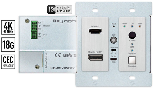 Key Digital KD-X2x1WDTx 2x1 4K/18G PoH HDBaseT DisplayPort & HDMI Wallplate Switcher (40m)