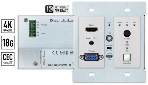Key Digital KD-X2X1WVTX 2x1 4K/18G PoH HDBaseT VGA & HDMI Wallplate Switcher (40m)
