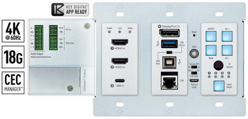 Key Digital KD-X4X1WUTX 4x1 4K/18G PoH HDBaseT 2 HDMI, DP, USB-C, USB & LAN Wallplate Switcher (100m)
