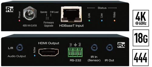 Key Digital KD-X40MRX 4K/18G HDMI Over HDBaseT Receiver with Audio De-Embedder (40m)