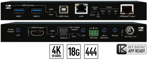 Key Digital KD-X100MRX 4K/18G HDMI Over HDBaseT Receiver with USB, LAN, L/R Audio Output De-Embeded (100m)