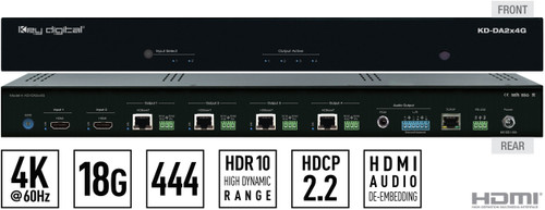 Key Digital KD-DA2x4G 2x4 4K/18G PoH HDBaseT HDMI Distribution Amplifier & Switcher Kit with Audio De-Embedding (70m)
