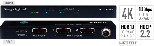Key Digital KD-DA1x2 1:2 4K 18G HDMI Distribution Amplifier