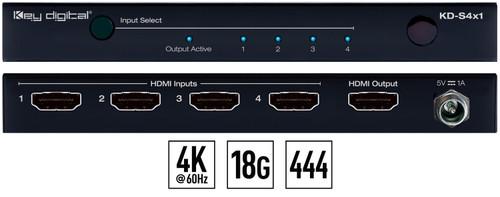 Key Digital KD-S4x1 4K 18G HDMI Switcher