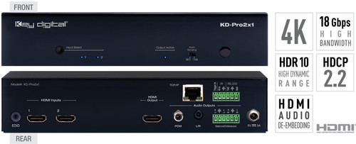Key Digital KD-Pro2/4x1 4K 18G HDMI Switcher with Digital Coaxial & Analog Audio De-Embedded Output