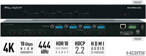 Key Digital KD-MS4x4G 4x4 4K 18G HDMI Audio Matrix Switcher with Digital Coaxial & Analog Audio De-Embedded Output