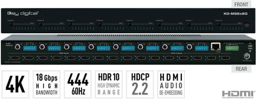 Key Digital KD-MS8x8G 8x8 4K 18G HDMI Audio Matrix Switcher with Digital Coaxial & Analog Audio De-Embedded Output