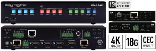 Key Digital KD-PS42 4x2 4K 18G HDBaseT Presentation Switcher with Audio De-Embedding + Receiver