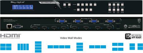 Key Digital KD-VW4x4Pro 4x4 Seamless Video Wall Matrix Switcher