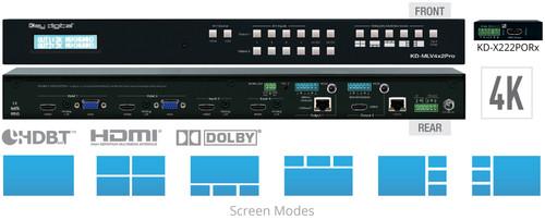 Key Digital KD-MLV4x2Pro 4x2 4K HDMI / VGA HDBaseT Seamless Multi-View Switcher Kit