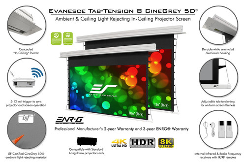 "Elite Screens Evanesce Tab-Tension B 16:9 Motorised In-Ceiling Projection Screens (115"", 133"")"