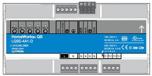 Lutron HomeWorks QS 4 Phase Adaptive Zones DIN Power Module