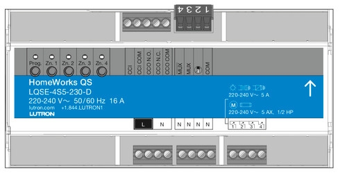 Lutron HomeWorks QS 4 Switched Zones DIN Power Module