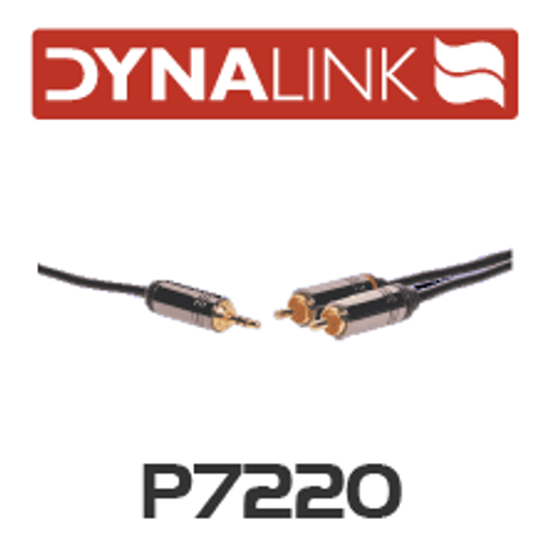 Dynalink 3.5mm Stereo Plug to 2 RCA Male Lead