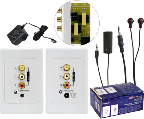 Pro.2 Composite + Audio & IR over Cat5 Wallplate Kit (up to 100m)
