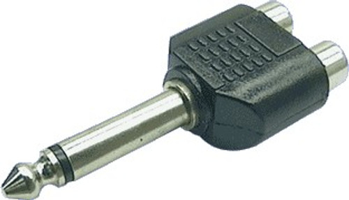 Dynalink Mono 6.35mm Plug to 2 RCA Female Adapter