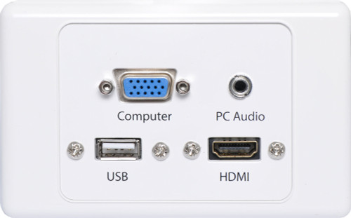Dynalink HDMI/VGA/USB A&3.5mm Stereo Audio Input Wallplate with Fly Leads