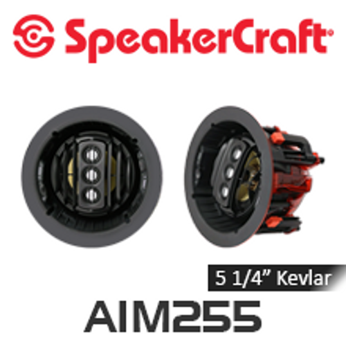 "SpeakerCraft AIM5 FIVE Series 2 5.25"" Made with 'Kevlar' Woofer Pivoting In-Ceiling Speakers (Pair)"
