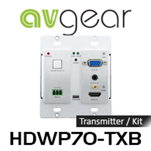AVGear HDWP70-TXB VGA, Audio & HDMI Over HDBaseT Transmitter Wallplate with Built-In Scaler