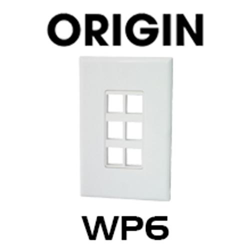 Origin WP6 Hidden Screw Design 6 Port Blank Keystone Wallplate