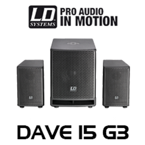 """LD Systems DAVE15G3 15"""" 1400W 2.1 Compact Active PA System w/ DSP"""
