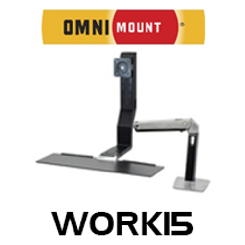 "OmniMount Work15 Single Monitor Sit/Stand Desk Mount (Up to 22"")"