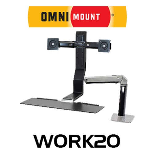 "OmniMount Work20 Dual Monitor Sit/Stand Desk Mount (Up to 22"")"