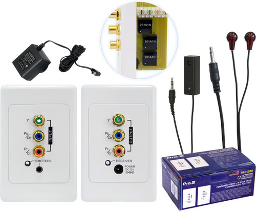 Component, Audio & IR over Cat5 Wallplate Kit (up to 100m)