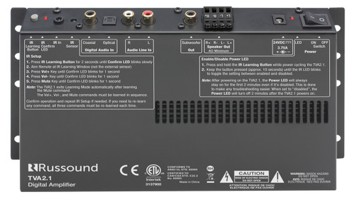 Russound TVA2.1 Digital 2-Channel TV Amplifier with IR Learning & Sub Out