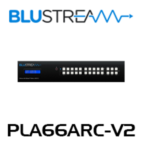 BluStream PLA66ARC-V2 6x6 4K UHD ARC Enabled HDBaseT Matrix (up to 40m)