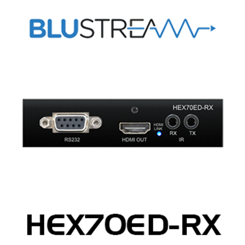 BluStream HEX70ED-RX 4K HDBaseT Receiver With Bi-Directional IR, RS-232, PoH (up to 40m)