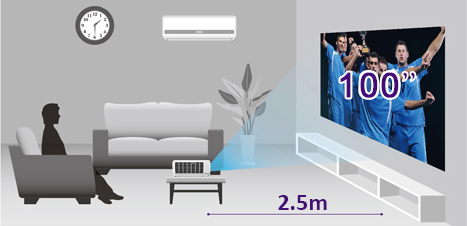 "Superior Short Throw Projection with 100"" of Big-Screen Enjoyment at 2.5 Meters"