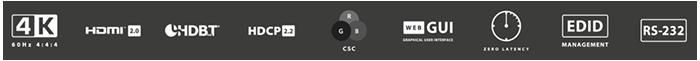 BluStream Contractor 8x8 4K HDR HDBaseT CSC Matrix Switcher features